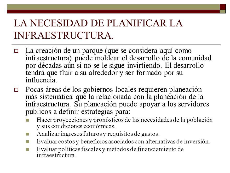 LA NECESIDAD DE PLANIFICAR LA INFRAESTRUCTURA. La creación de un parque (que se considera aquí como infraestructura) puede moldear el desarrollo de la