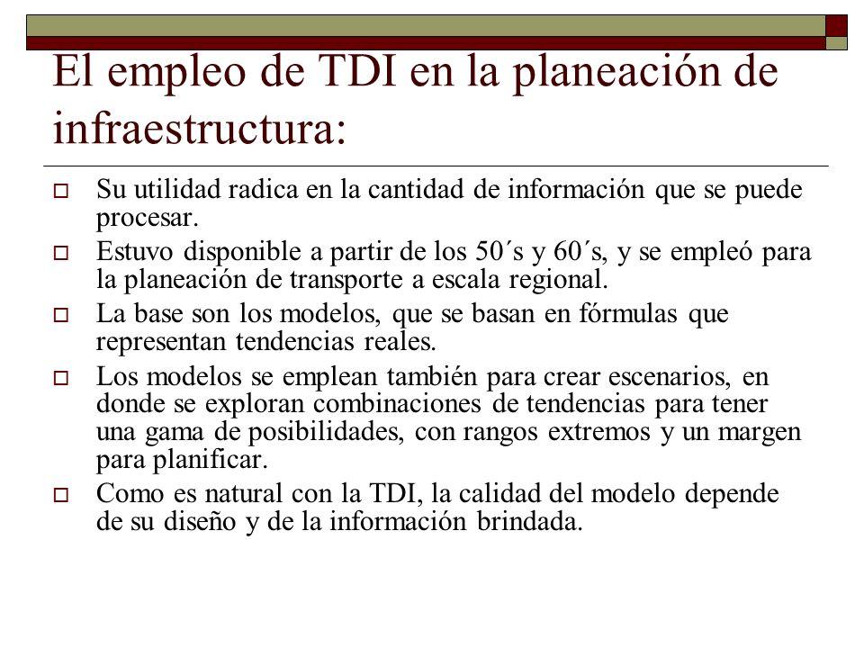 El empleo de TDI en la planeación de infraestructura: Su utilidad radica en la cantidad de información que se puede procesar. Estuvo disponible a part