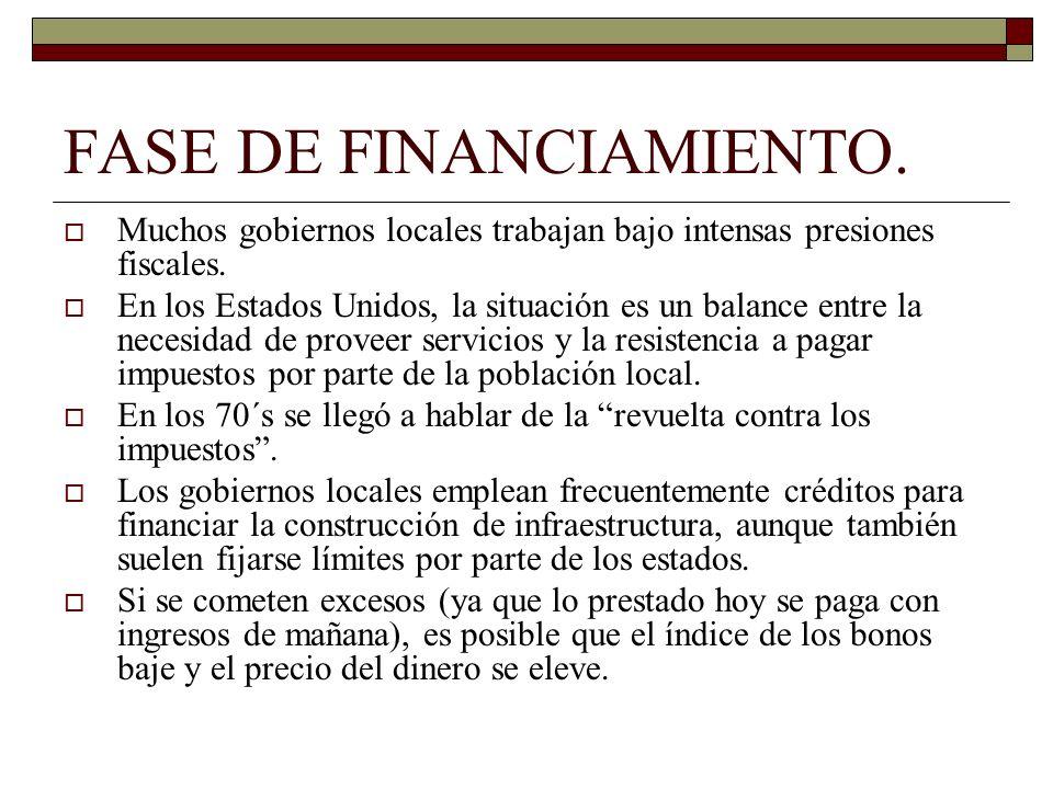 FASE DE FINANCIAMIENTO. Muchos gobiernos locales trabajan bajo intensas presiones fiscales. En los Estados Unidos, la situación es un balance entre la