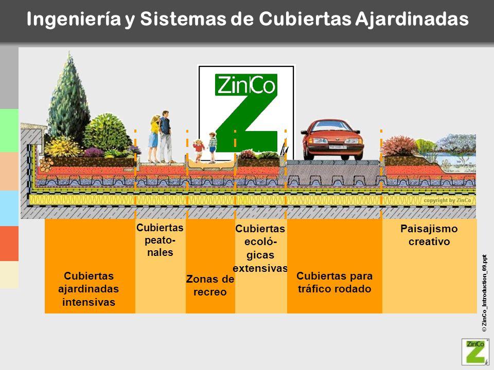 © ZinCo_Introduction_09.ppt Cubiertas ajardinadas intensivas Cubiertas peato- nales Zonas de recreo Cubiertas ecoló- gicas extensivas Cubiertas para t