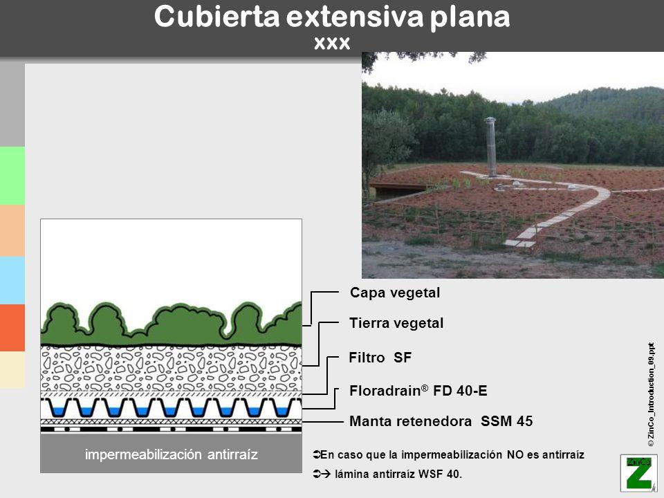 © ZinCo_Introduction_09.ppt Cubierta extensiva plana xxx En caso que la impermeabilización NO es antirraíz lámina antirraíz WSF 40. impermeabilización