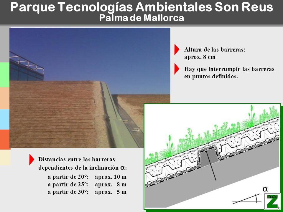 © ZinCo_Introduction_09.ppt Parque Tecnologías Ambientales Son Reus Palma de Mallorca Distancias entre las barreras dependientes de la inclinación : a