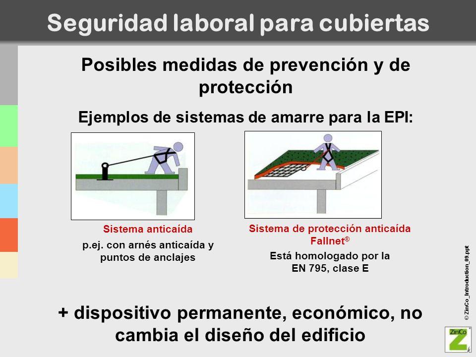 © ZinCo_Introduction_09.ppt Posibles medidas de prevención y de protección Ejemplos de sistemas de amarre para la EPI: Seguridad laboral para cubierta