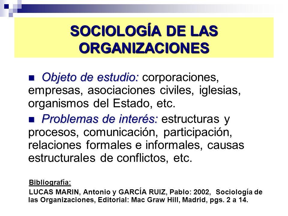 SOCIOLOGÍA DE LAS ORGANIZACIONES Objeto de estudio: Objeto de estudio: corporaciones, empresas, asociaciones civiles, iglesias, organismos del Estado,