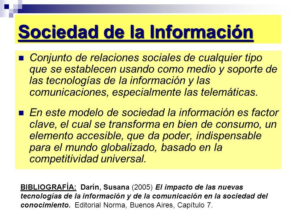 Sociedad de la Información Conjunto de relaciones sociales de cualquier tipo que se establecen usando como medio y soporte de las tecnologías de la in