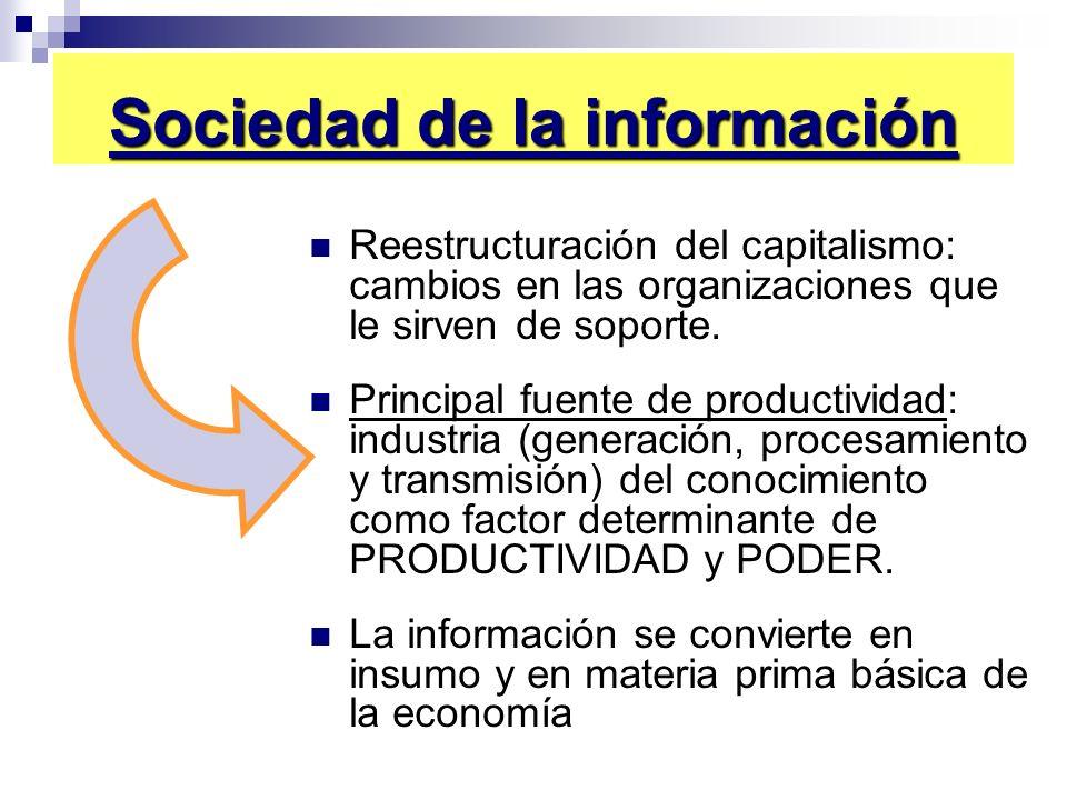Sociedad de la información Reestructuración del capitalismo: cambios en las organizaciones que le sirven de soporte. Principal fuente de productividad