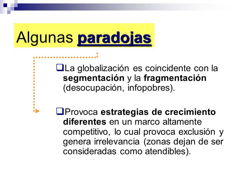 paradojas Algunas paradojas La globalización es coincidente con la segmentación y la fragmentación (desocupación, infopobres). Provoca estrategias de