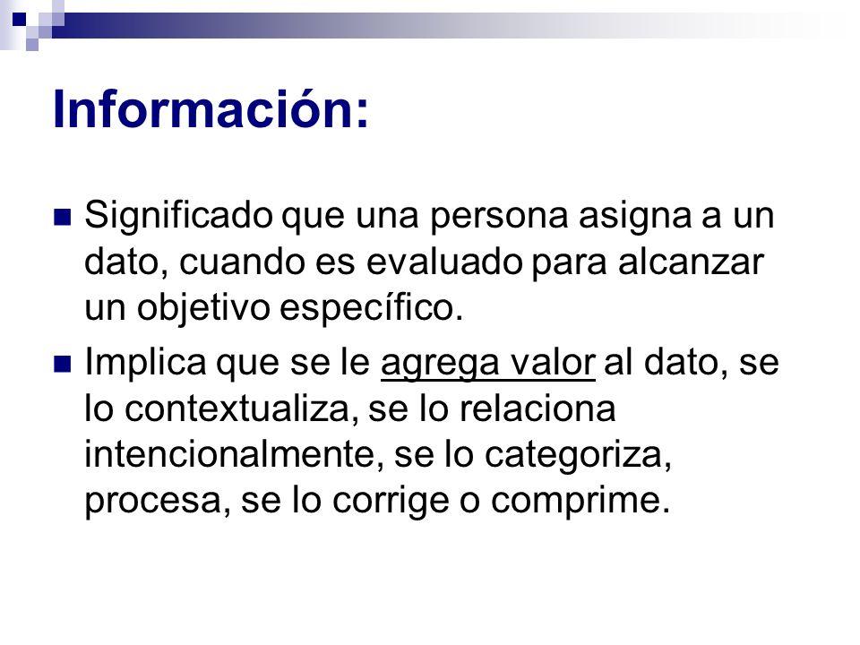 Información: Significado que una persona asigna a un dato, cuando es evaluado para alcanzar un objetivo específico. Implica que se le agrega valor al