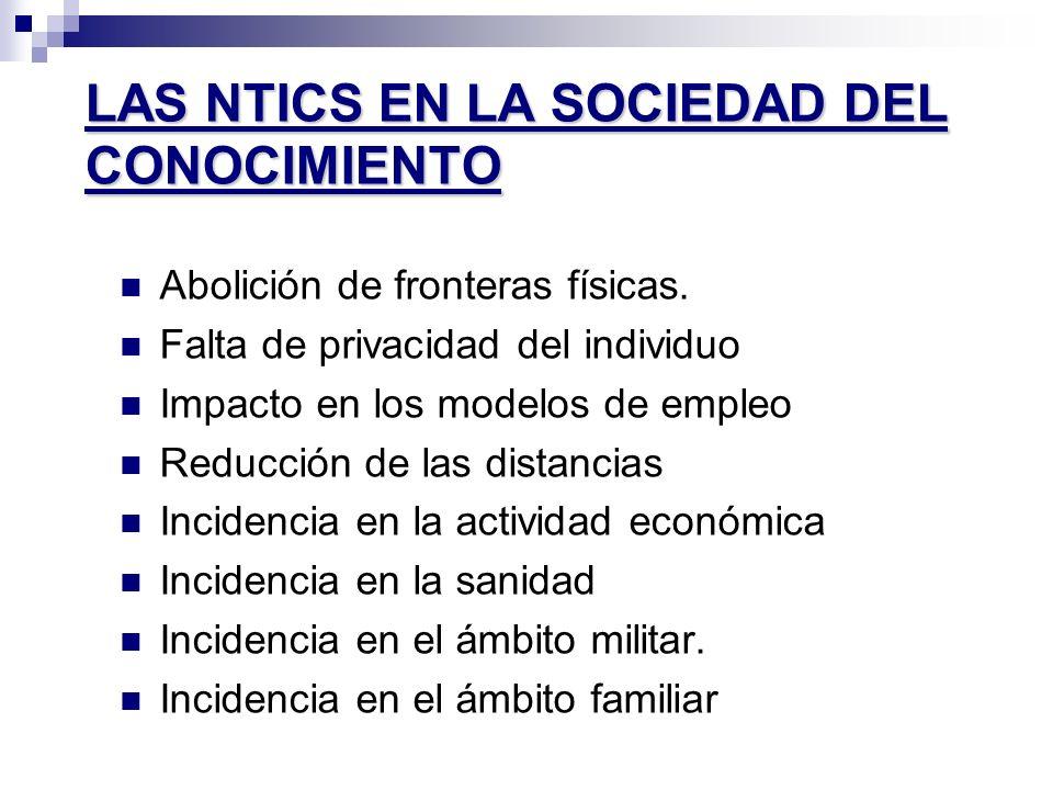 LAS NTICS EN LA SOCIEDAD DEL CONOCIMIENTO Abolición de fronteras físicas. Falta de privacidad del individuo Impacto en los modelos de empleo Reducción