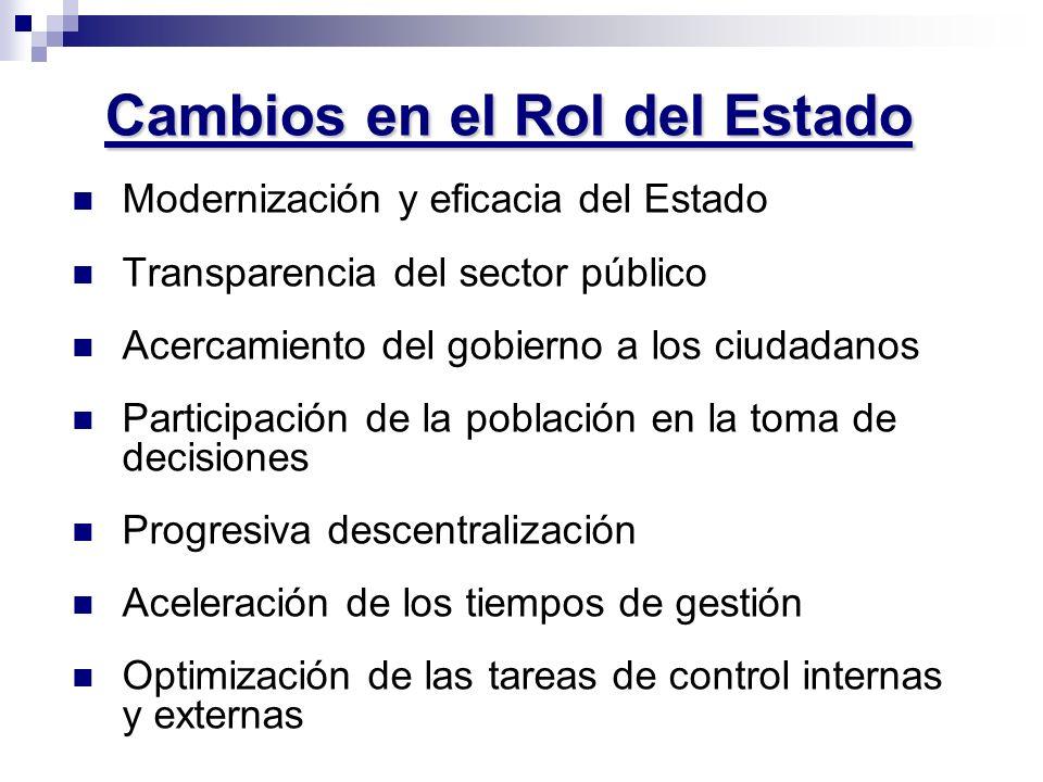 Cambios en el Rol del Estado Modernización y eficacia del Estado Transparencia del sector público Acercamiento del gobierno a los ciudadanos Participa