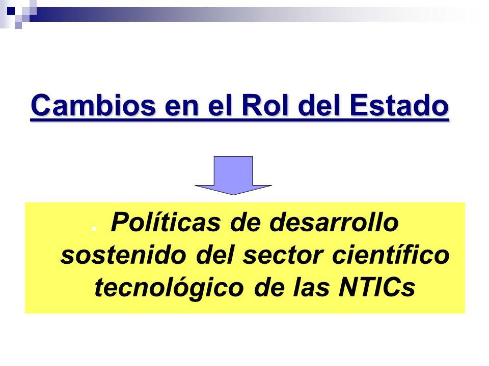 Cambios en el Rol del Estado Políticas de desarrollo sostenido del sector científico tecnológico de las NTICs