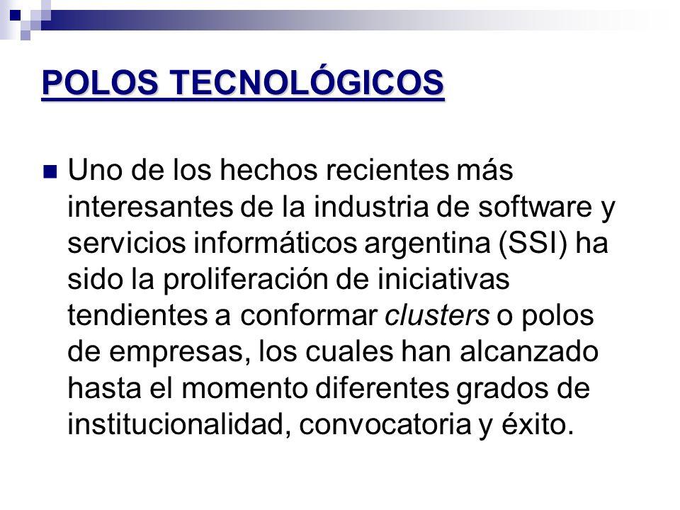 POLOS TECNOLÓGICOS Uno de los hechos recientes más interesantes de la industria de software y servicios informáticos argentina (SSI) ha sido la prolif