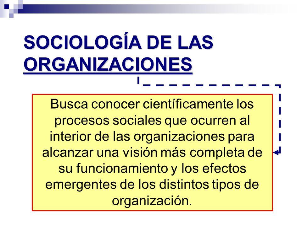 SOCIOLOGÍA DE LAS ORGANIZACIONES Busca conocer científicamente los procesos sociales que ocurren al interior de las organizaciones para alcanzar una v