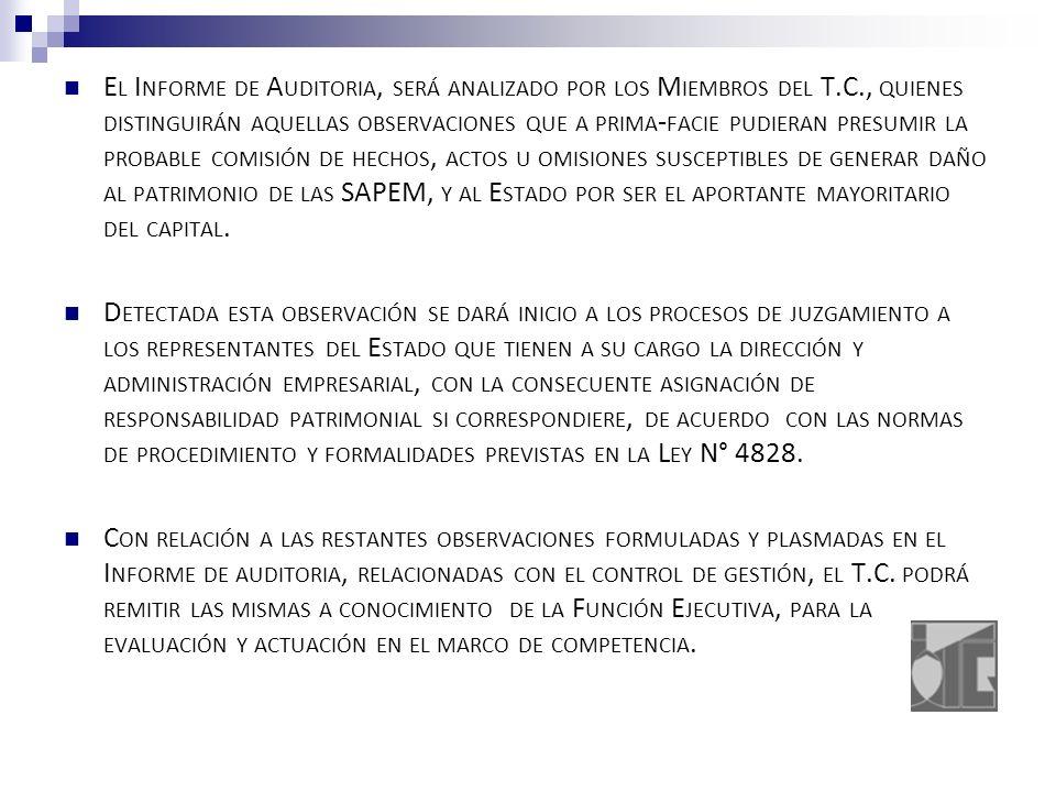 E L I NFORME DE A UDITORIA, SERÁ ANALIZADO POR LOS M IEMBROS DEL T.C., QUIENES DISTINGUIRÁN AQUELLAS OBSERVACIONES QUE A PRIMA - FACIE PUDIERAN PRESUMIR LA PROBABLE COMISIÓN DE HECHOS, ACTOS U OMISIONES SUSCEPTIBLES DE GENERAR DAÑO AL PATRIMONIO DE LAS SAPEM, Y AL E STADO POR SER EL APORTANTE MAYORITARIO DEL CAPITAL.