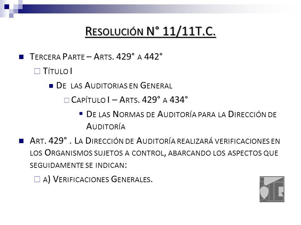 R ESOLUCIÓN N° 11/11T.C. T ERCERA P ARTE – A RTS.