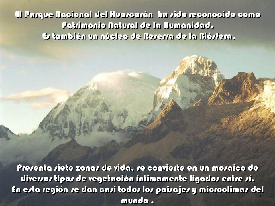 Entre las cimas famosas de la Cordillera Blanca está el pico más alto de Perú y uno de los mayores de América. Es reconocida su belleza. Tiene 6.768 m