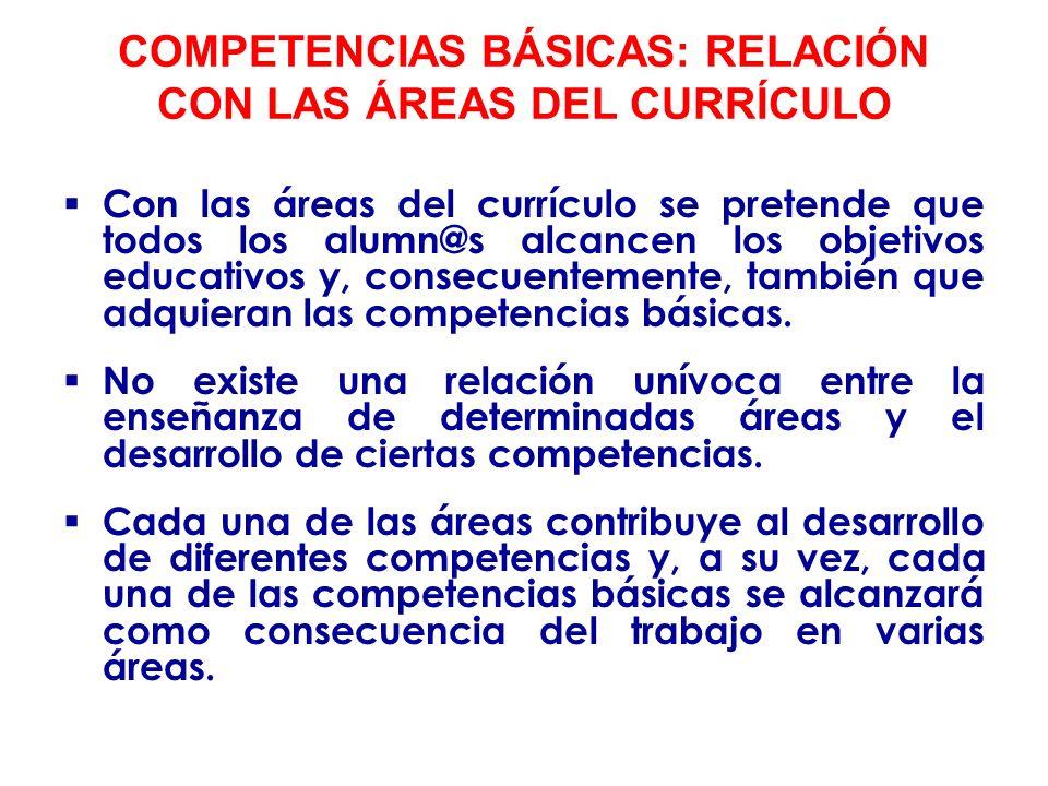 Aunque en determinadas áreas existe una relación directa con alguna competencia básica, como por ejemplo: Lengua y Literatura: competencia lingüística.