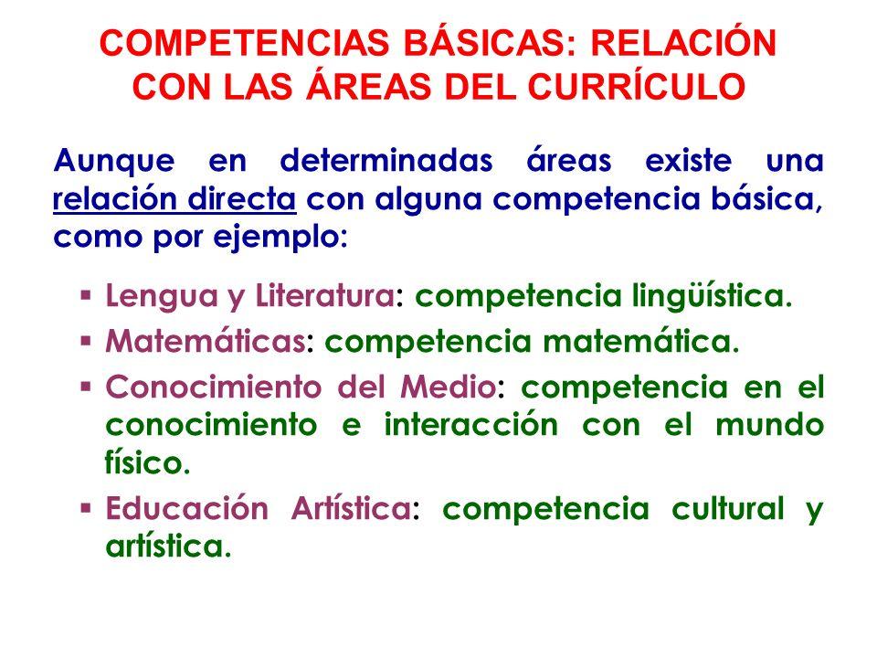 Todas las áreas contribuyen de forma indirecta en el desarrollo de otras competencias básicas.