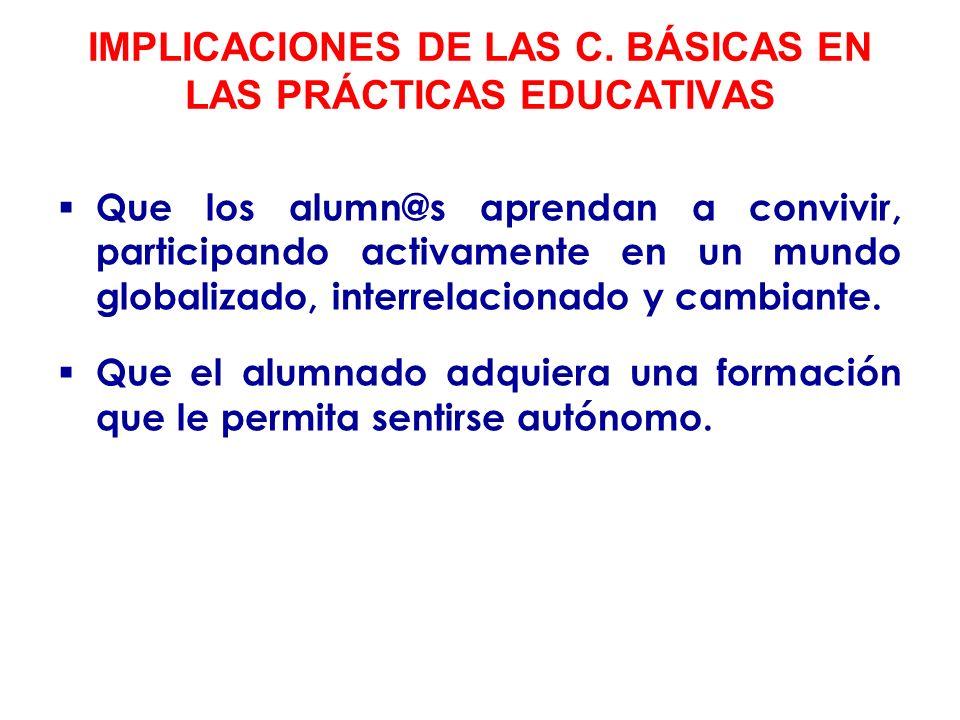 PRINCIPIOS PEDAGÓGICOS DERIVADOS DEL DESARROLLO DE LAS COMPETENCIAS BÁSICAS Lo importante no es transmitir informaciones y conocimientos, sino provocar el desarrollo de competencias básicas.