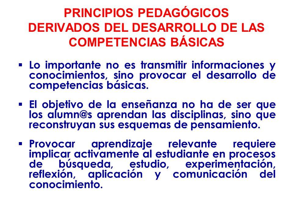 PRINCIPIOS PEDAGÓGICOS DERIVADOS DEL DESARROLLO DE LAS COMPETENCIAS BÁSICAS El desarrollo de las competencias requiere vincular el conocimiento a los problemas importantes de la vida cotidiana.