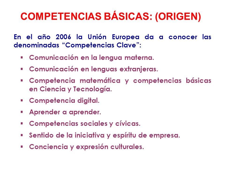 En España, las competencias clave pasan a denominarse Competencias Básicas a través de la Ley Orgánica de Educación (LOE) que llega a nuestro sistema educativo en 2006.