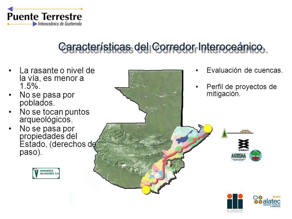 Características del Corredor Interoceánico. La rasante o nivel de la vía, es menor a 1.5%. No se pasa por poblados. No se tocan puntos arqueológicos.