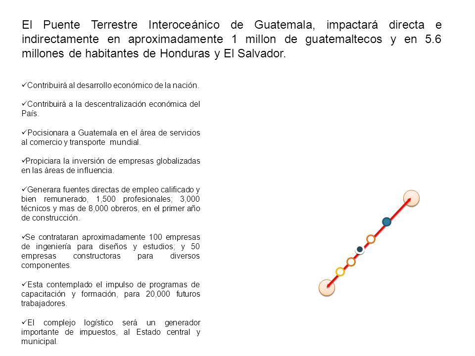 El Puente Terrestre Interoceánico de Guatemala, impactará directa e indirectamente en aproximadamente 1 millon de guatemaltecos y en 5.6 millones de h