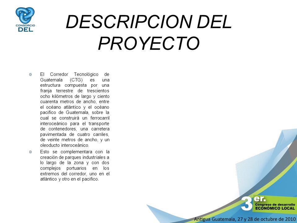 DESCRIPCION DEL PROYECTO El Corredor Tecnológico de Guatemala (CTG) es una estructura compuesta por una franja terrestre de trescientos ocho kilómetro