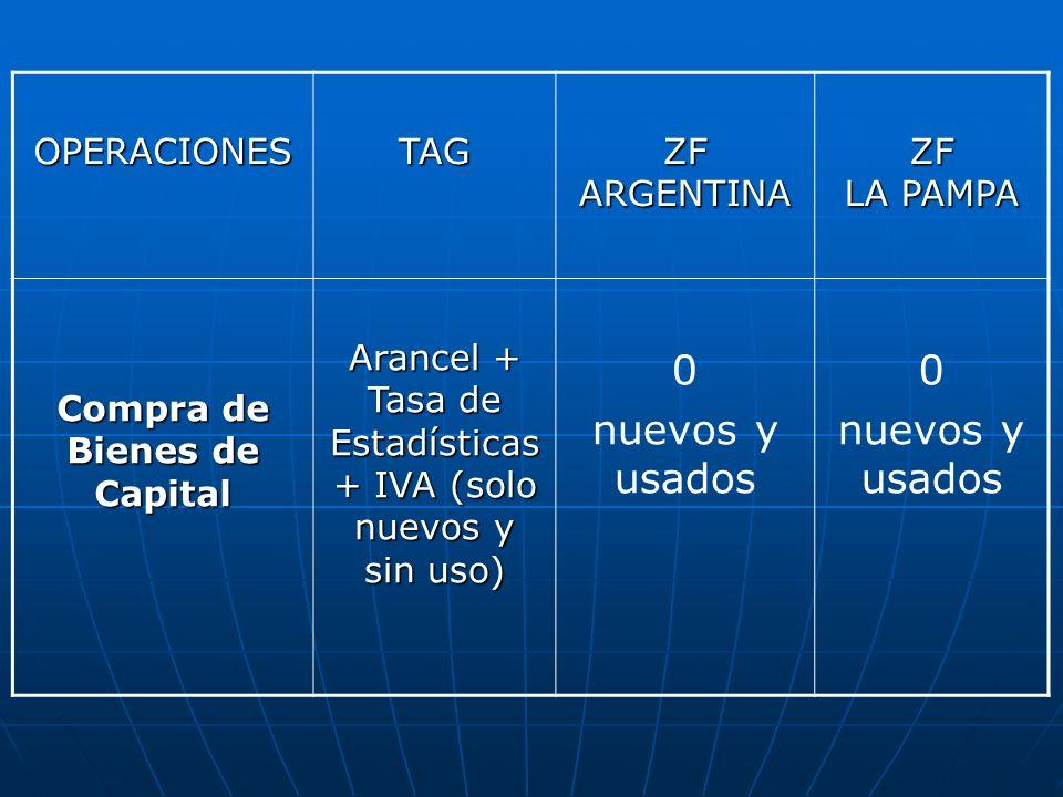 OPERACIONESTAG ZF ARGENTINA ZF LA PAMPA Compra de Bienes de Capital Arancel + Tasa de Estadísticas + IVA (solo nuevos y sin uso) 0 nuevos y usados 0 n