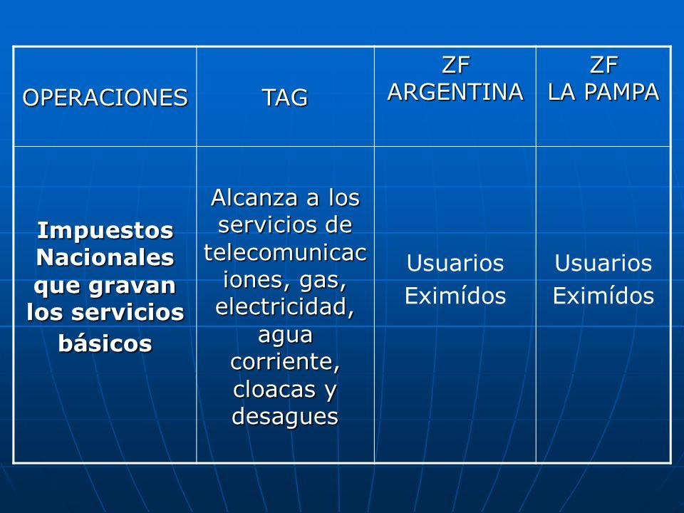 OPERACIONESTAG ZF ARGENTINA ZF LA PAMPA Impuestos Nacionales que gravan los servicios básicos Alcanza a los servicios de telecomunicac iones, gas, ele