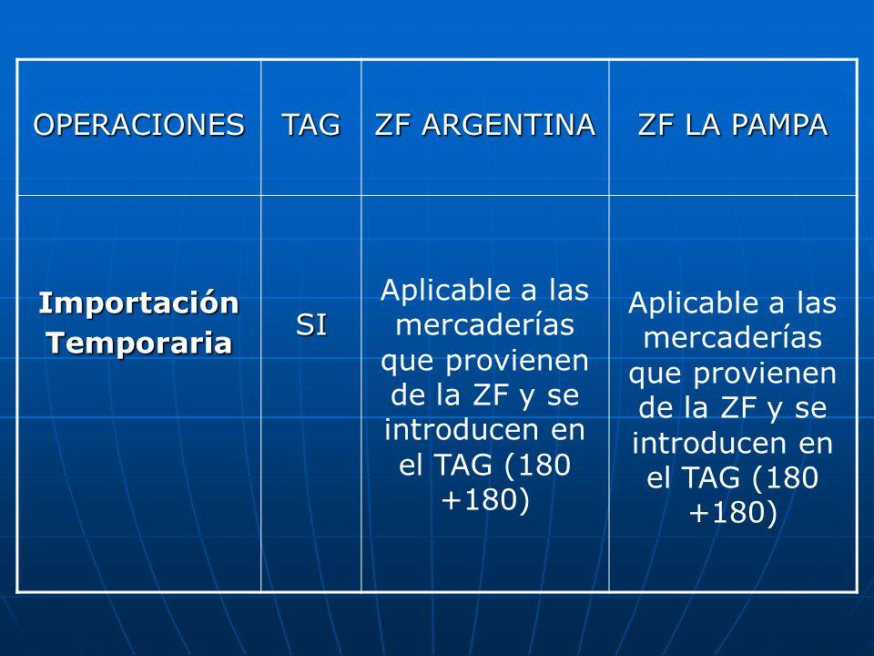 OPERACIONESTAG ZF ARGENTINA ZF LA PAMPA Importación Temporaria SI Aplicable a las mercaderías que provienen de la ZF y se introducen en el TAG (180 +1