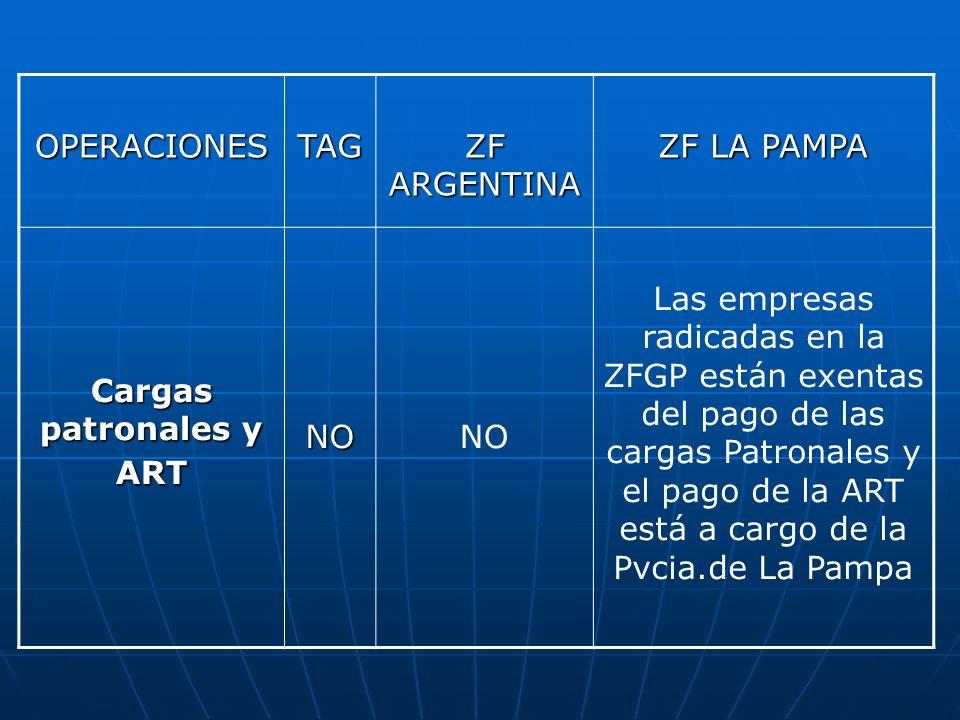 OPERACIONESTAG ZF ARGENTINA ZF LA PAMPA Cargas patronales y ART NONO Las empresas radicadas en la ZFGP están exentas del pago de las cargas Patronales