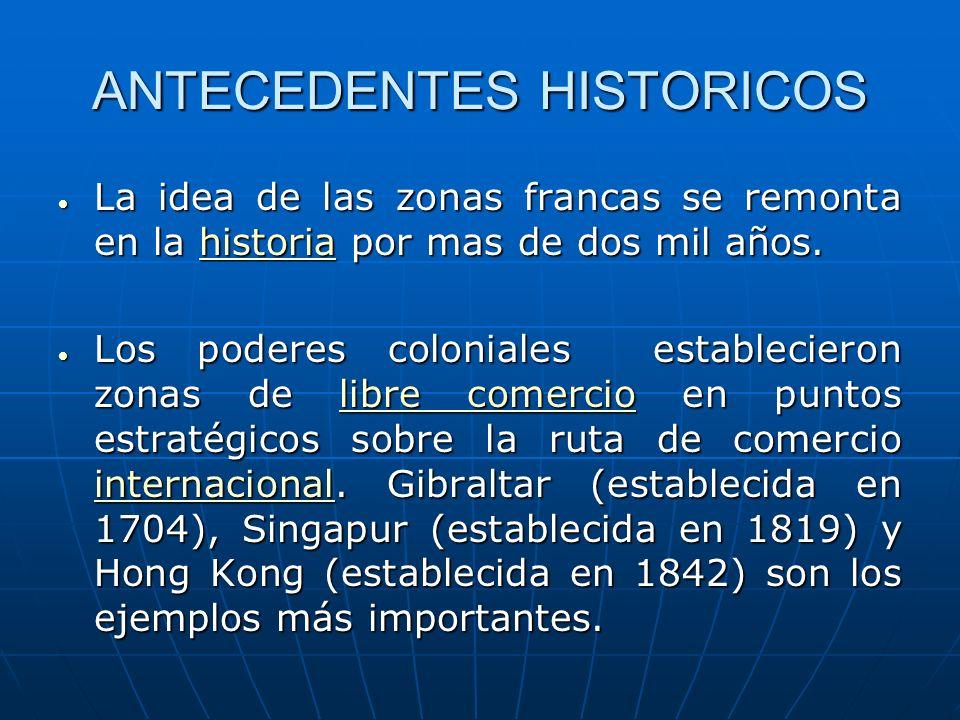 ANTECEDENTES HISTORICOS La idea de las zonas francas se remonta en la historia por mas de dos mil años. La idea de las zonas francas se remonta en la