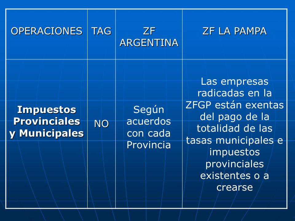 OPERACIONESTAG ZF ARGENTINA ZF LA PAMPA Impuestos Provinciales y Municipales NO Según acuerdos con cada Provincia Las empresas radicadas en la ZFGP es