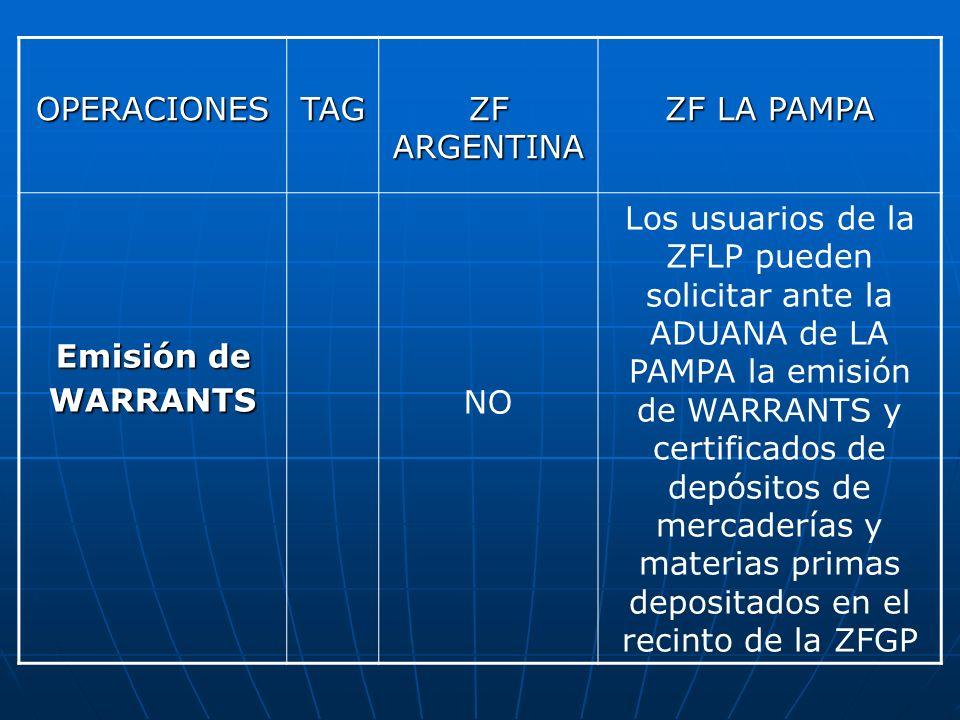 OPERACIONESTAG ZF ARGENTINA ZF LA PAMPA Emisión de WARRANTS NO Los usuarios de la ZFLP pueden solicitar ante la ADUANA de LA PAMPA la emisión de WARRA