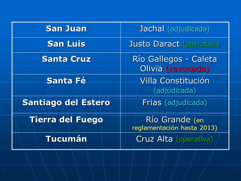 San Juan Jachal (adjudicada) San Luis Justo Daract (operativa) Santa Cruz Río Gallegos - Caleta Olivia (revocada) Santa Fé Villa Constitución (adjudic