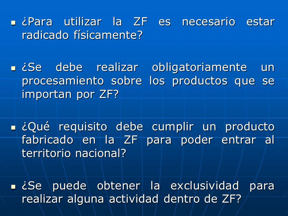 ¿Para utilizar la ZF es necesario estar radicado físicamente? ¿Para utilizar la ZF es necesario estar radicado físicamente? ¿Se debe realizar obligato