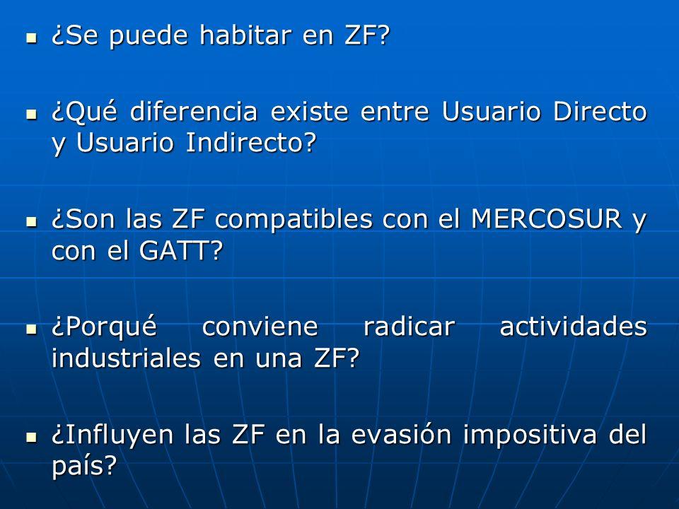 ¿Se puede habitar en ZF? ¿Se puede habitar en ZF? ¿Qué diferencia existe entre Usuario Directo y Usuario Indirecto? ¿Qué diferencia existe entre Usuar