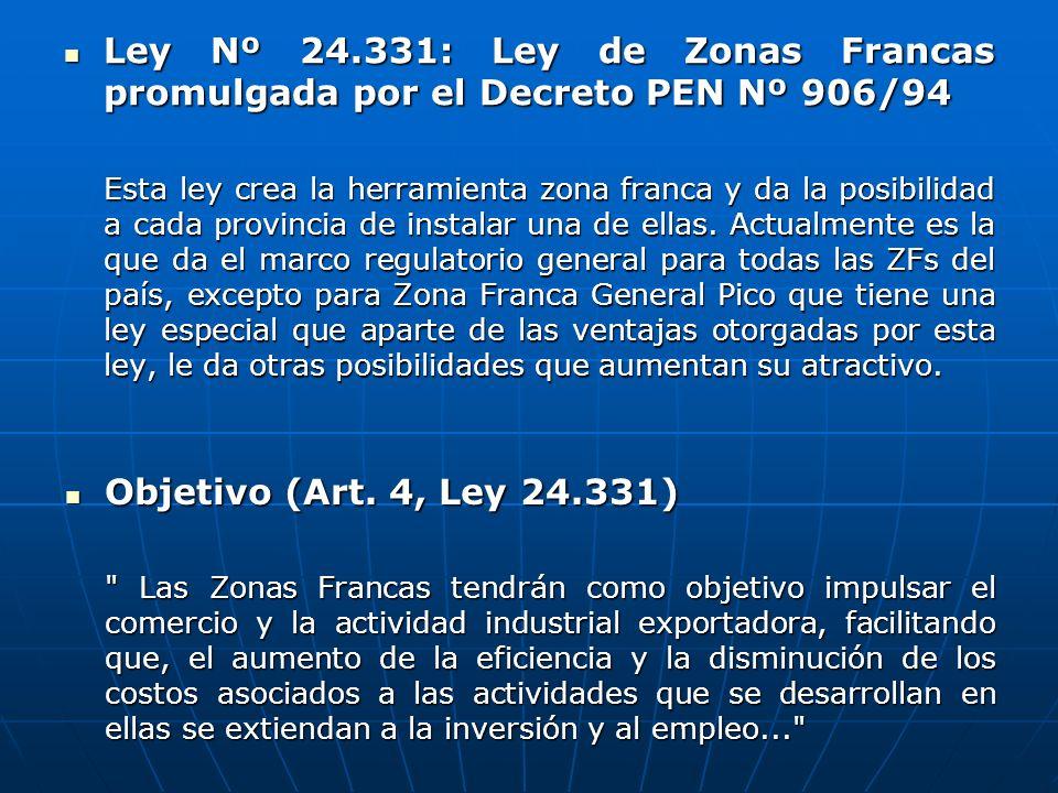 Ley Nº 24.331: Ley de Zonas Francas promulgada por el Decreto PEN Nº 906/94 Ley Nº 24.331: Ley de Zonas Francas promulgada por el Decreto PEN Nº 906/9