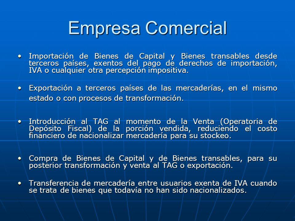 Empresa Comercial Importación de Bienes de Capital y Bienes transables desde terceros países, exentos del pago de derechos de importación, IVA o cualq