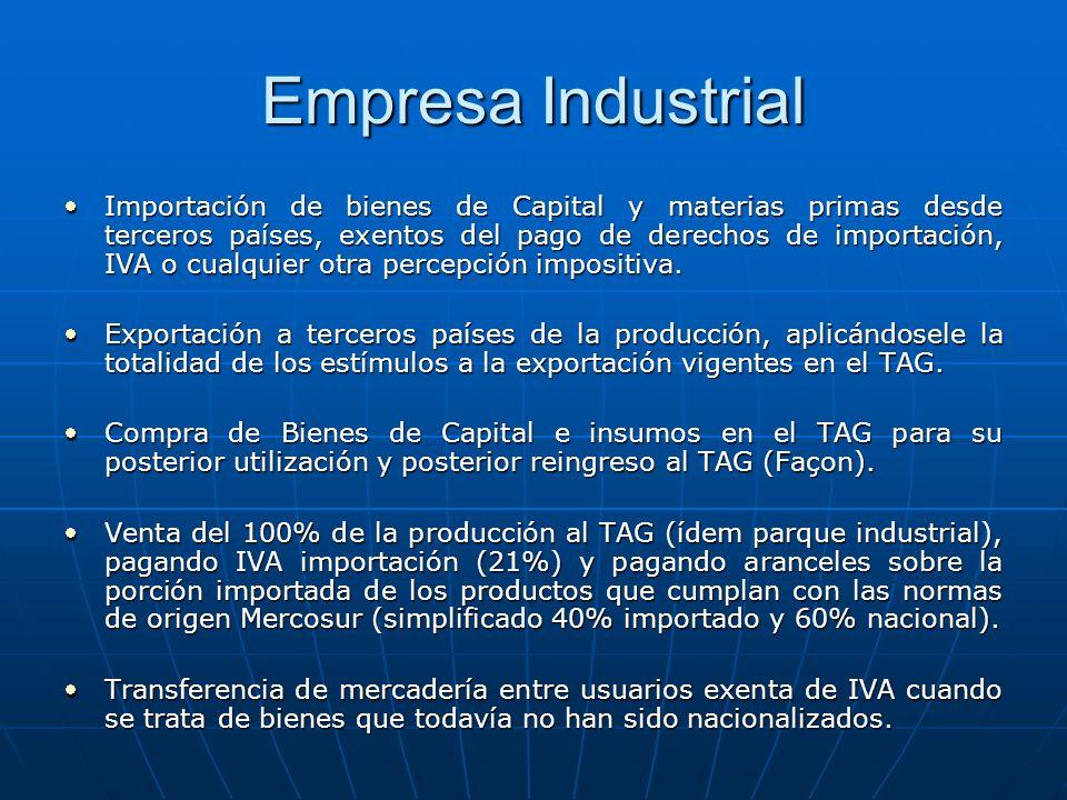 Empresa Industrial Importación de bienes de Capital y materias primas desde terceros países, exentos del pago de derechos de importación, IVA o cualqu