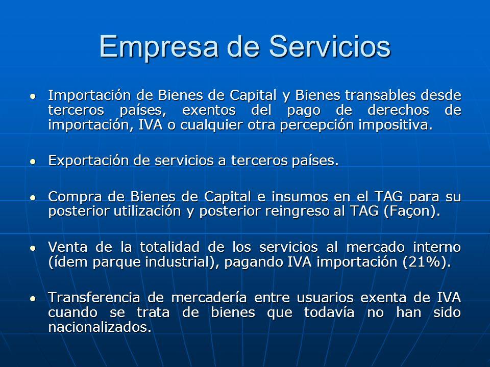 Empresa de Servicios Importación de Bienes de Capital y Bienes transables desde terceros países, exentos del pago de derechos de importación, IVA o cu