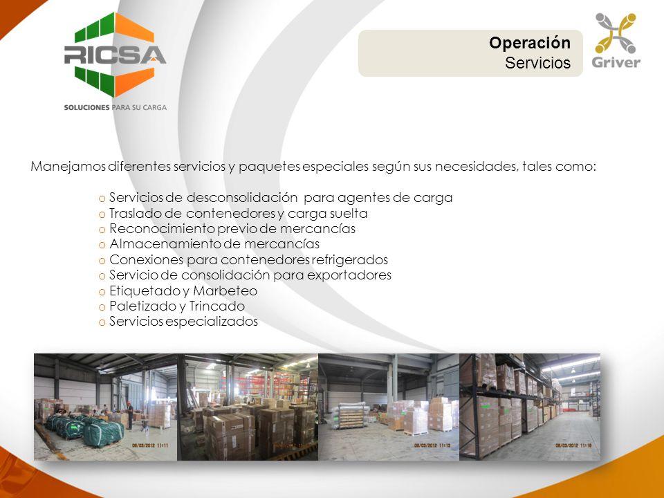 Manejamos diferentes servicios y paquetes especiales según sus necesidades, tales como: o Servicios de desconsolidación para agentes de carga o Trasla