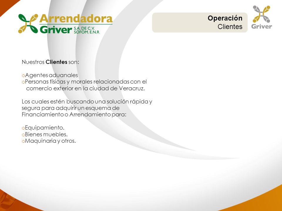Operación Clientes Nuestros Clientes son: o Agentes aduanales o Personas físicas y morales relacionadas con el comercio exterior en la ciudad de Verac