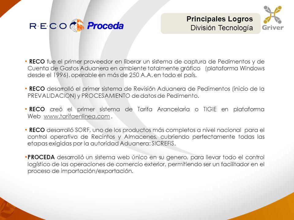 RECO fue el primer proveedor en liberar un sistema de captura de Pedimentos y de Cuenta de Gastos Aduanera en ambiente totalmente gráfico (plataforma