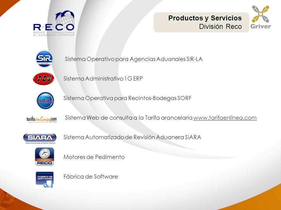 Sistema Operativo para Agencias Aduanales SIR-LA Sistema Administrativo 1G ERP Sistema Operativa para Recintos-Bodegas SORF Sistema Web de consulta a