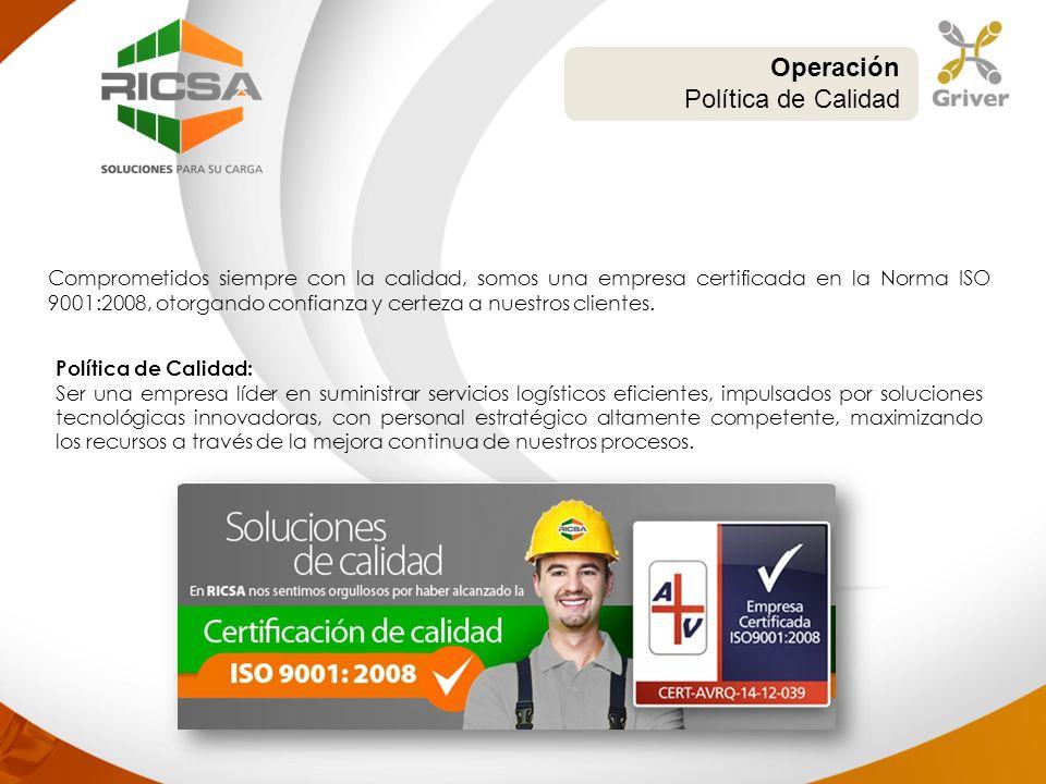 Comprometidos siempre con la calidad, somos una empresa certificada en la Norma ISO 9001:2008, otorgando confianza y certeza a nuestros clientes. Oper