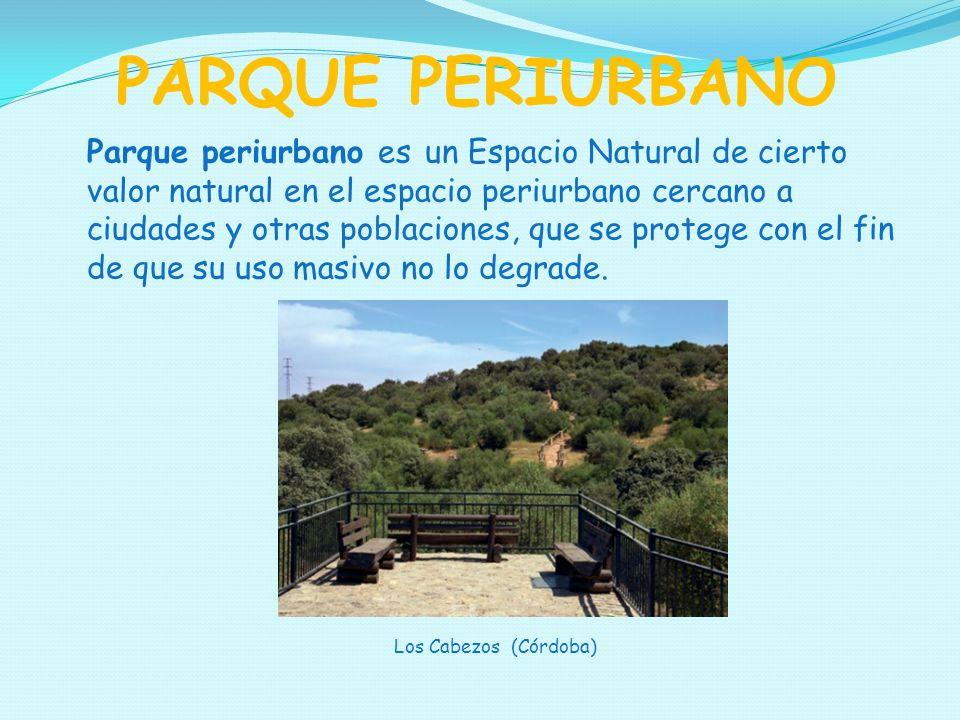 Parque periurbano es un Espacio Natural de cierto valor natural en el espacio periurbano cercano a ciudades y otras poblaciones, que se protege con el fin de que su uso masivo no lo degrade.