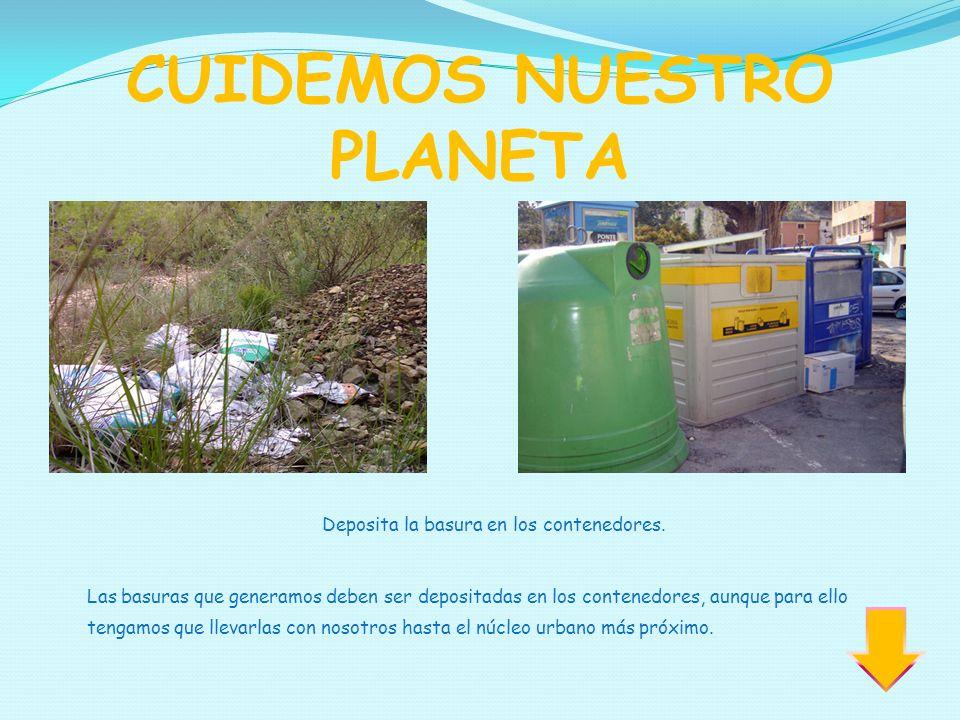 CUIDEMOS NUESTRO PLANETA Deposita la basura en los contenedores. Las basuras que generamos deben ser depositadas en los contenedores, aunque para ello