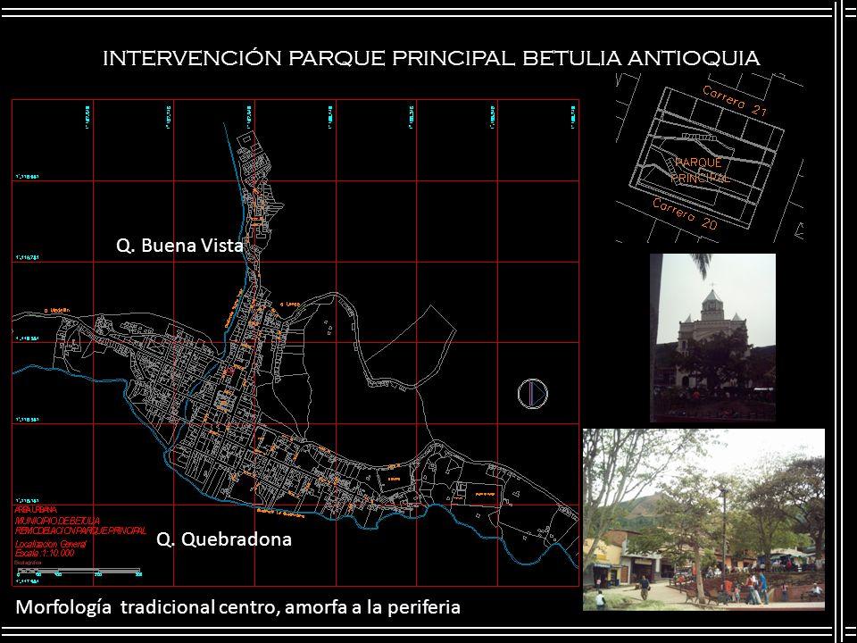 INTERVENCIÓN PARQUE PRINCIPAL BETULIA ANTIOQUIA Q. Buena Vista Q. Quebradona Morfología tradicional centro, amorfa a la periferia